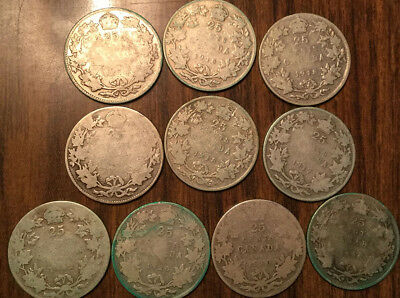Lot Of Silver Canada 25 Cents Lot Of Silver Quarters 10 Coins Total .925 Silver