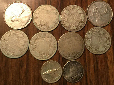 Lot Of Silver Canada 25 Cents And 10 Cents Quarters And Dimes 10 Coins Total