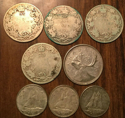 Lot Of Silver Canada 25 Cents And 10 Cents Quarters And Dimes 8 Coins Total