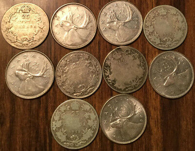 Lot Of Silver Canada 25 Cents Lot Of Silver Quarters 10 Coins Total