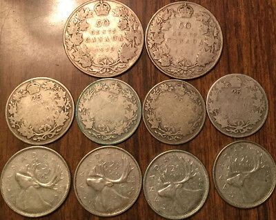 Lot Of Silver Canada 50 Cents And 25 Cents Halves And Quarters 10 Coins Total