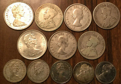 Lot Of Silver Canada 25 Cents And 10 Cents Quarters And Dimes 12 Coins Total