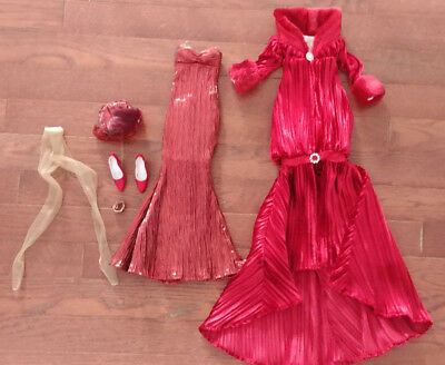 "Evangeline Ghastly 18"" Doll - Red Gown & Red Velvet Coat  - 'blood Moon Winters'"