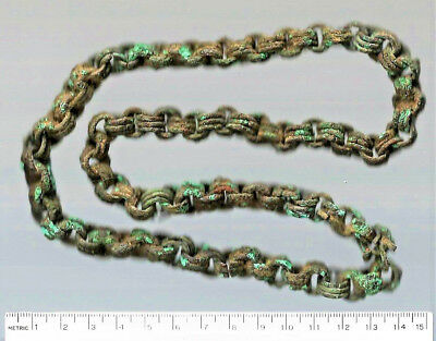 """Copper Alloy Medieval Trade Beads Ancient Bronze Mali Dogon Djenne Chain 22"""""""