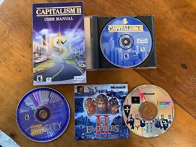 Lot of PC computer games-Age of Empires 2, Capitalism 2, SimCity, Monopoly, more