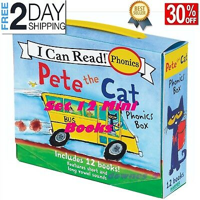 Pete the Cat Childrens Books Phonics I Can Read Box Gift Set Lot 12 4 - 8 years