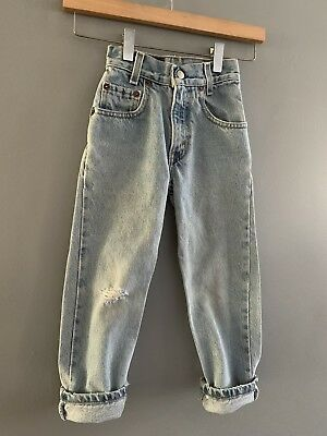 Vintage Boys Size 6 Levi 550 Relaxed Fit Slim Denim Jeans Distressed
