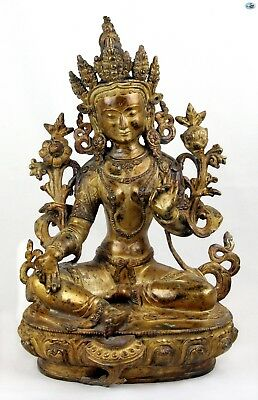 Antique 1800s Large Asian Chinese Gilded Bronze Female Buddha w/Snakes Statue