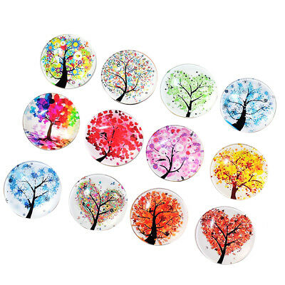 12 Pcs Refrigerator Magnets Cute Round Landscape Tree Fridge Stickers for Party