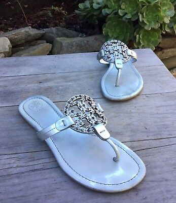 2b8248793  228 Tory Burch Miller Embellished Sandals Silver Metallic Leather Women Sz  8 M