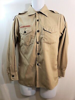 BOY SCOUTS BSA Beige Uniform Shirt Long Sleeve Youth Size LARGE L NWT