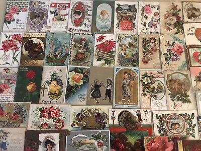 Vintage Mixed Lot of 55 Holidays & Greetings Postcards-Antique-~in Sleeves-k205