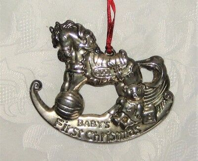 Silverplate BABY'S FIRST CHRISTMAS Rocking Horse Ornament 2001, Lot #5