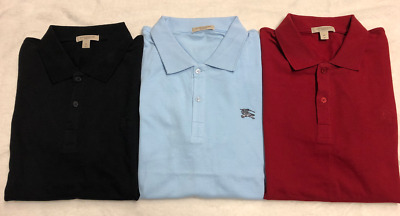 505 LOT of (3) BURBERRY BRIT Mens POLO SHIRTS Pique   Cassius Metal Logo 643b1b87097