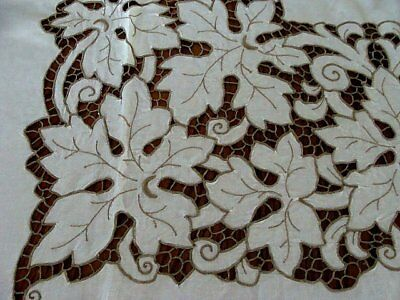 "Vintage Madeira Linen Tablecloth 84"" 8 Napkins FANCY Cutwork Hand Embroidered"