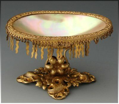 Antique French Palais Royal Mother of Pearl Vide Poche, Open Salt or Jewel Dish