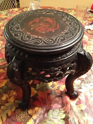 Vintage Signed Made In Japan Carved Wooden Dragon Table Stand
