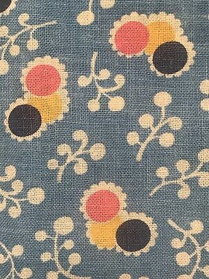 Vintage Feedsack Fabric FQ Novelty Pink Yellow Navy ButtonCenter Scallop Floral