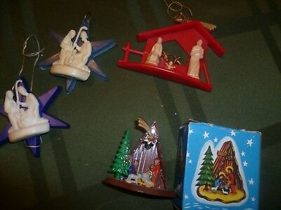 Vintage  Miniature Nativity Set in Box + 3 Plastic Nativity Ornaments