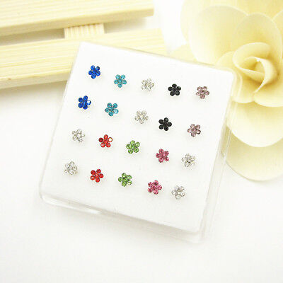 Wholesale 20Pcs Crystal Flower Straight Bar Rod Pin 925 Solid Silver Nose Stud
