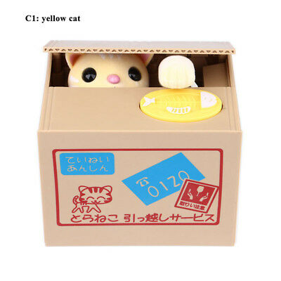Yellow Cat Automatic Stealing Coin Cat Coins Penny Cents Piggy Bank Saving Box