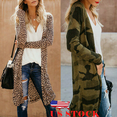 1bba4df96ed4 US Women Loose Long Sleeve Cardigan Leopard Kimono Shawl Tops Blouse Coat  Jacket
