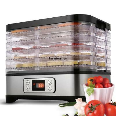 Food Dehydrator Preserver 5 Tray Fruit Vegetable Dryer Timer/Temperature Control