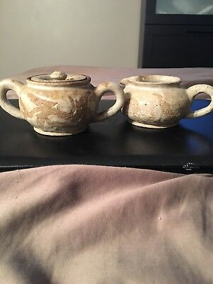 Brutalist Creamer And Sugar Bowl Signed Reed 69