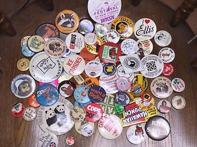 Lot of 80+ Vintage Pinbacks Buttons Pins Advertising Television Collectibles