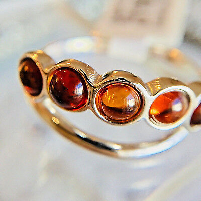 Russian Genuine Baltic Amber Ring Size 7,0 Vintage Butterscotch Egg Yolk Polish