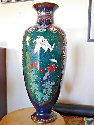 """INCREDIBLE  ANTIQUE JAPANESE EARLY MEIJI PERIOD CLOISONNE VASE w/ ORCHID; 24"""""""
