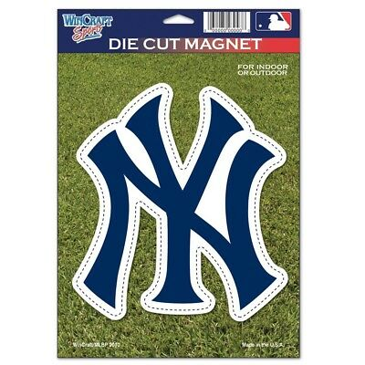 """NEW YORK YANKEES """"NY"""" OFFICIAL LOGO 6""""x9"""" DIE CUT MAGNET BRAND NEW WINCRAFT"""