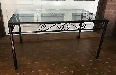 Wrought Iron Table with Glass Top French Style Indoors/ Outdoors Bundoora