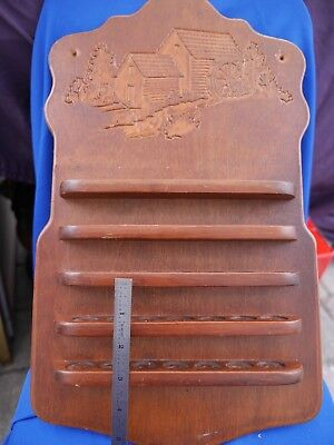 """Carved Country Farm scene THIMBLE Display Rack Wood, approximately 15"""""""