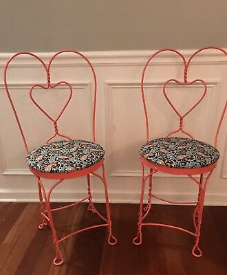 Set Of 2 Vintage Ice Cream Parlor Chairs w/Sweetheart Twisted Wrought Iron