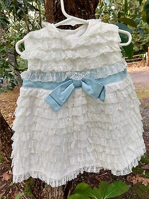 Vintage Handmade Baby Dress 1960s All Lace Blue Bow Toddler Size Sleeveless