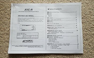 Apexi Avcr Avc-R Electronic Boost Controller Manual Instructions
