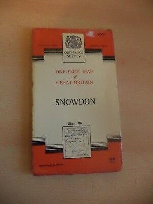 OLD VINTAGE ROAD MAP TOUR TOURING GUIDE 1960S OS 107 snowdon CLOTH NATIONAL GRID