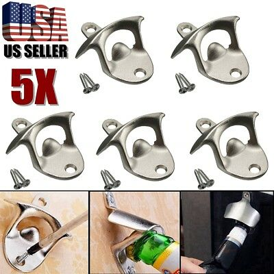 5Pcs Stainless Steel Wall Mount Bar Beer Coke Bottle Cap Opener Kitchen W/ Scews
