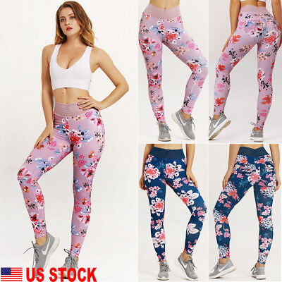 US Women's Fitness Yoga Legging Running High Waist Floral Jogging Pants Trousers