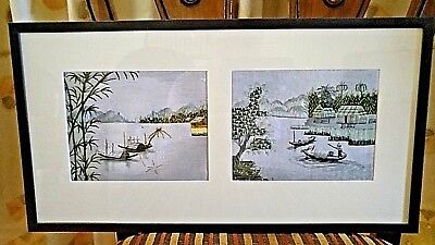 Vintage Scroll Silk Painting Chinese Landscape Picture Signed Framed