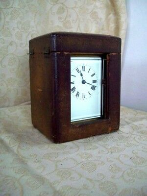 Vintage French Brass Carriage Clock with Original Travel Case in Working Order