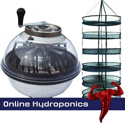 "Hydroponics 16"" Bowl Bud Trimmer Plus Large 90Cm Drying Rack"