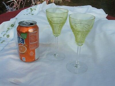 2 Orrefors Crystal CHARTREUSE VASELINE Clear wht.Wine Glass Drape cut Simon Gate