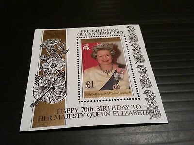British Indian Ocean Territory 1996 Sg Ms184 70Th Birthday Of Queen  Mnh
