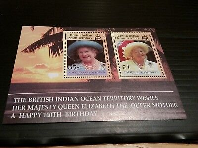 British Indian Ocean Territory 2000 Sg Ms242  Queen Mother 100Th Birthday Mnh