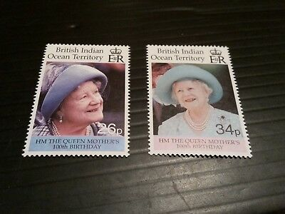 British Indian Ocean Territory 2000 Sg 240-241  Queen Mother 100Th Birthday Mnh