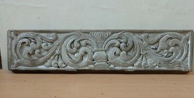 Antique Wall Wooden Panel Hand Floral Carved Home Vintage Door Estate Decor Rare