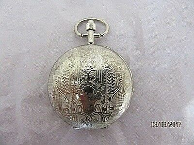 Pocket Watch Silvered Hunter  Decorated Case Quartz  Working Order Ideal Gift