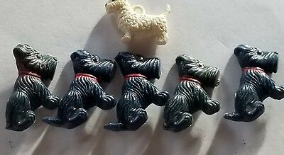 "5 Black Plastic Standing Scotty Dog Buttons  + 1 White Scotty  Charm - 1"" Tall"